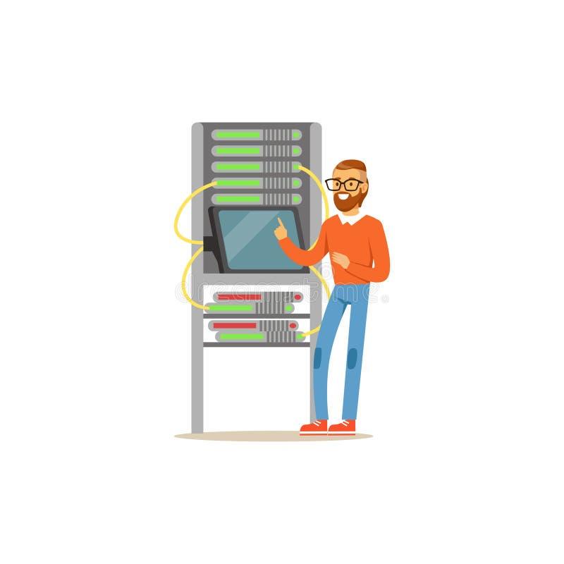 El administrador del ingeniero de la red que trabajaba en centro de datos usando la tableta conectó con el estante del servidor,  ilustración del vector