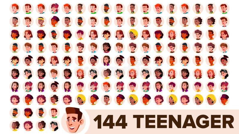 El adolescente Avatar fijó vector Muchacha, individuo Racial multi Haga frente a las emociones Retrato multinacional de la gente  ilustración del vector
