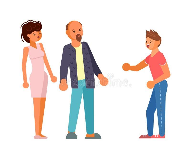 El adolescente del hijo en cólera grita en su padre y madre stock de ilustración