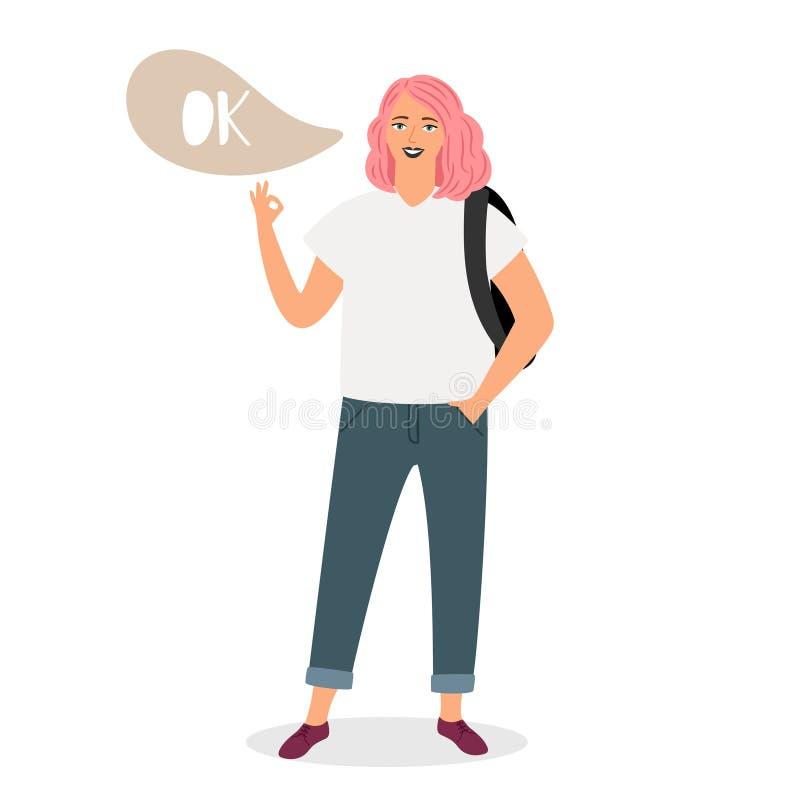 El adolescente muestra a muestra el ejemplo ACEPTABLE del vector libre illustration