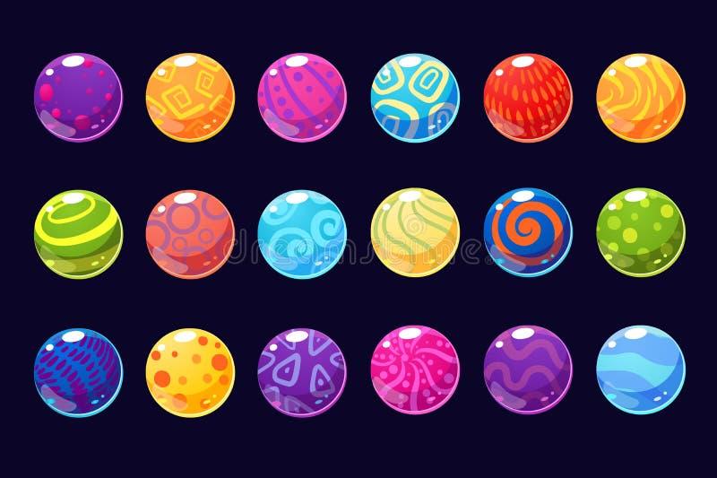 El adoquín coloreado brillante de las bolas de los ejemplos del vector para el usetr de los apps, del web y del juego interconect stock de ilustración