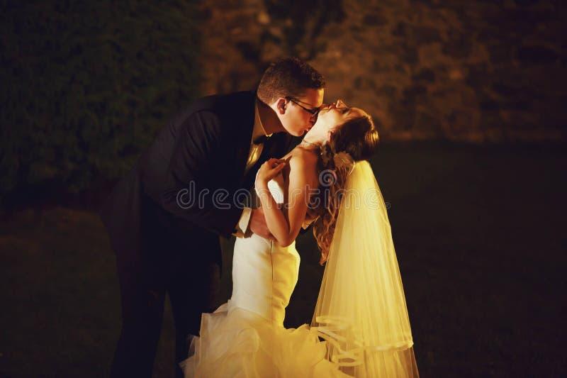 El adorno del novio y de la novia elegantes de la moda es el besarse en la parte posterior fotos de archivo