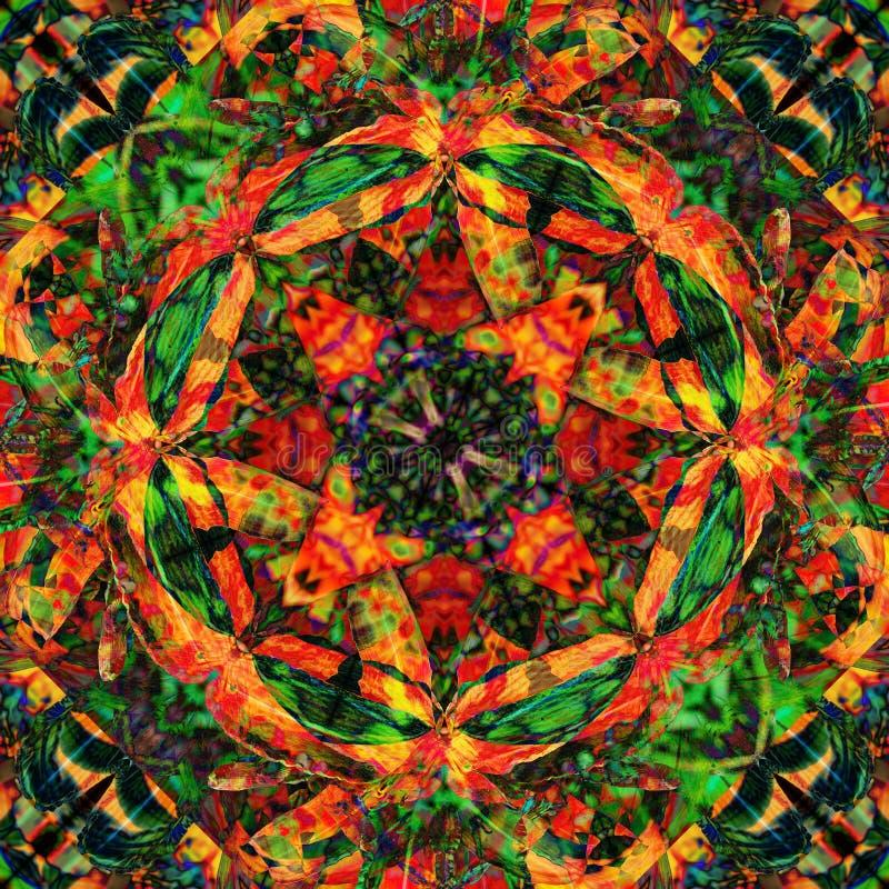 El adorno verde intenso y abstracto Fondo ilustrativo brillante con efecto caleidoscopio ilustración del vector
