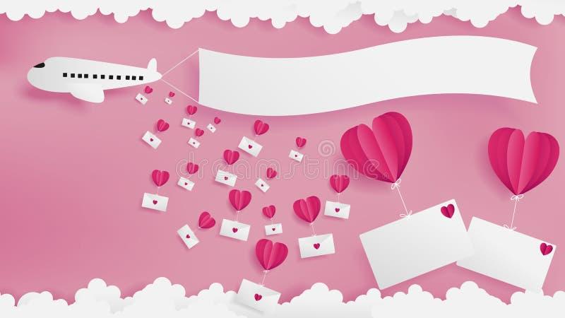 El aeroplano cae los correos del amor entonces que fluyen por el globo rojo libre illustration