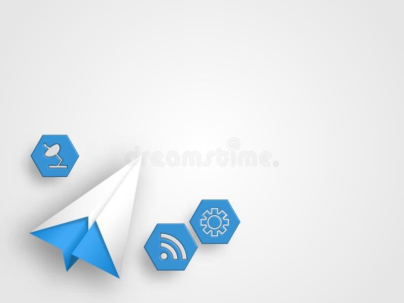 El aeroplano de la papiroflexia con los iconos de la telecomunicación representa concepto global de la innovación de la conexión  ilustración del vector