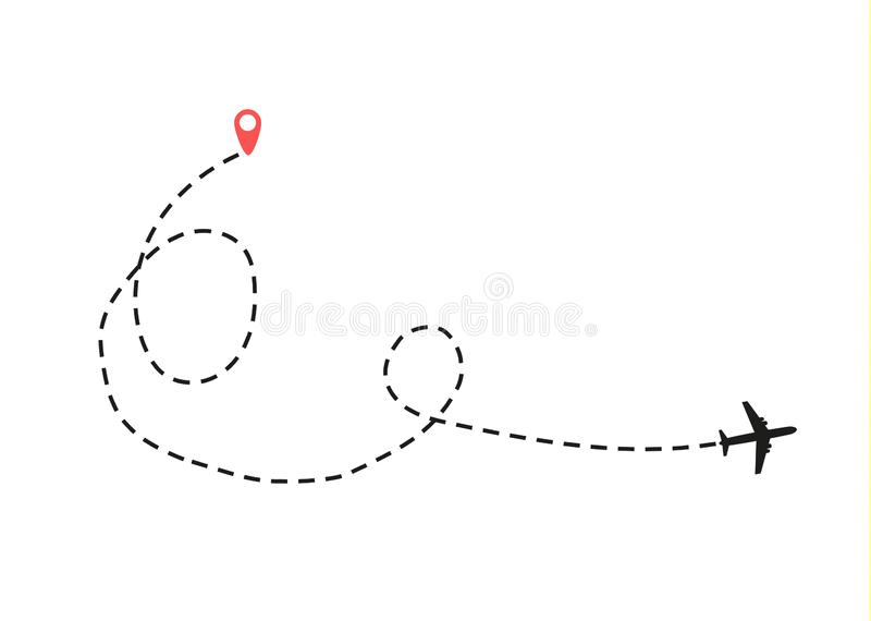 El aeroplano está en una línea de puntos libre illustration