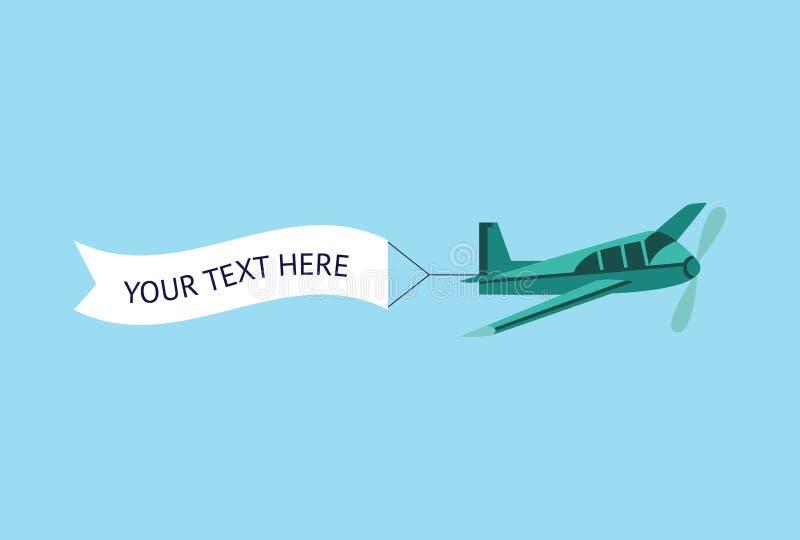 El aeroplano o el avión con el ejemplo publicitario del vector de la bandera de la cinta aisló ilustración del vector