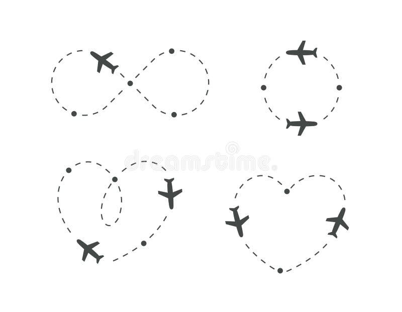 El aeroplano punteó la ruta, sistema del icono Trayectoria plana de la silueta y de vuelo Lazo de la dirección de la trayectoria, stock de ilustración