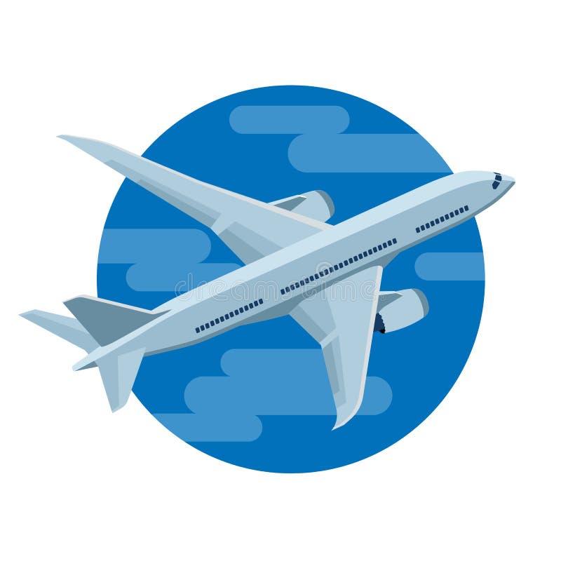 El aeroplano vuela en el cielo stock de ilustración