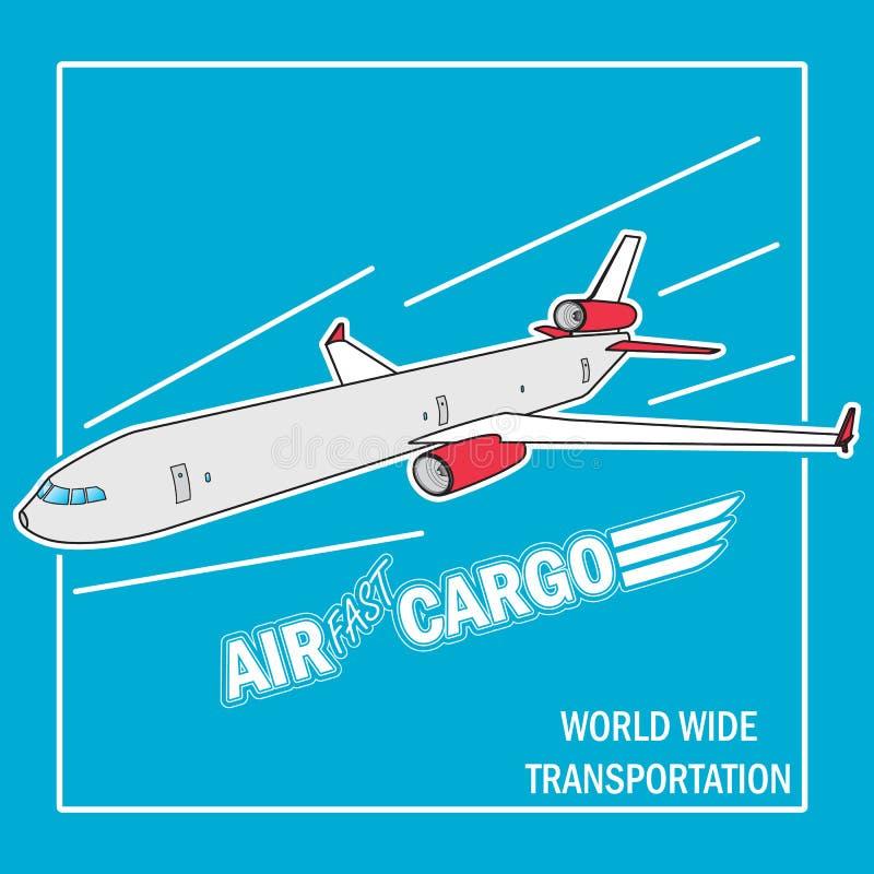 El aeroplano vuela en el cielo ilustración del vector
