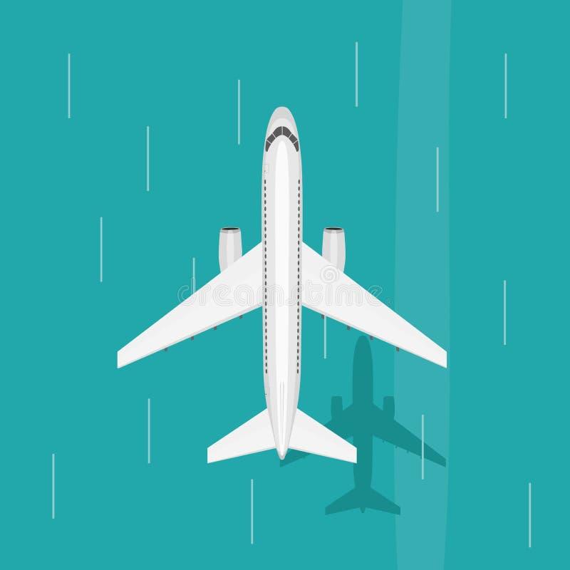 El aeroplano vuela en el cielo sobre el mar Visión desde arriba ilustración del vector