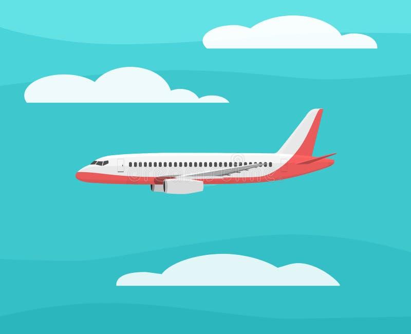 El aeroplano vuela en el cielo Vista lateral Ilustración del vector de la historieta ilustración del vector
