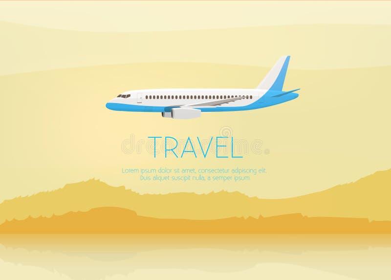 El aeroplano vuela en el cielo Vista lateral Ilustración del vector de la historieta stock de ilustración