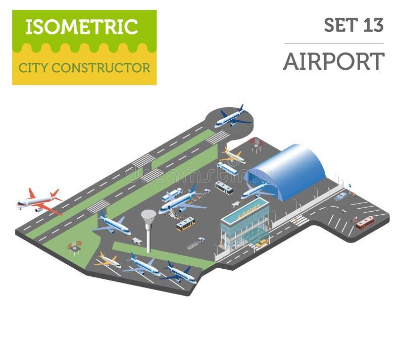 el aeropuerto 3d y la ciudad isométricos trazan los elementos del constructor aislados ilustración del vector