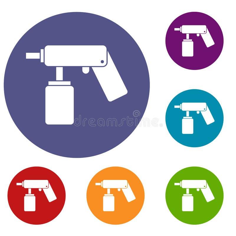 El aerosol del espray puede embotellar con los iconos de una boca fijados ilustración del vector