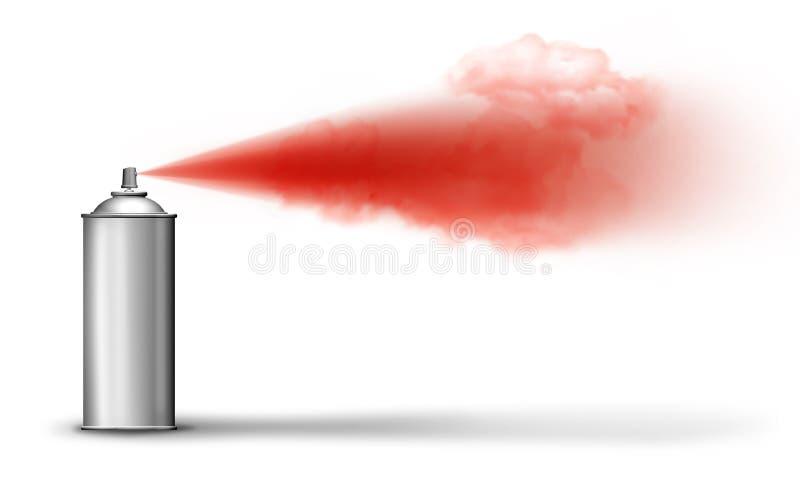 El aerosol puede pintura roja de rociadura ilustración del vector