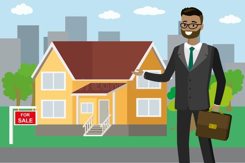 El agente inmobiliario afroamericano muestra la casa en venta stock de ilustración