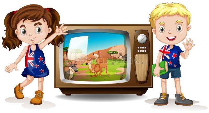 El agitar australiano de la muchacha y del muchacho ilustración del vector
