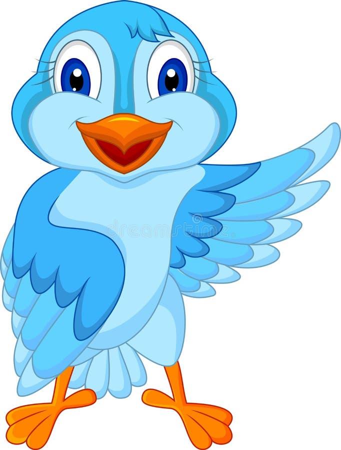 El agitar azul lindo de la historieta del pájaro stock de ilustración