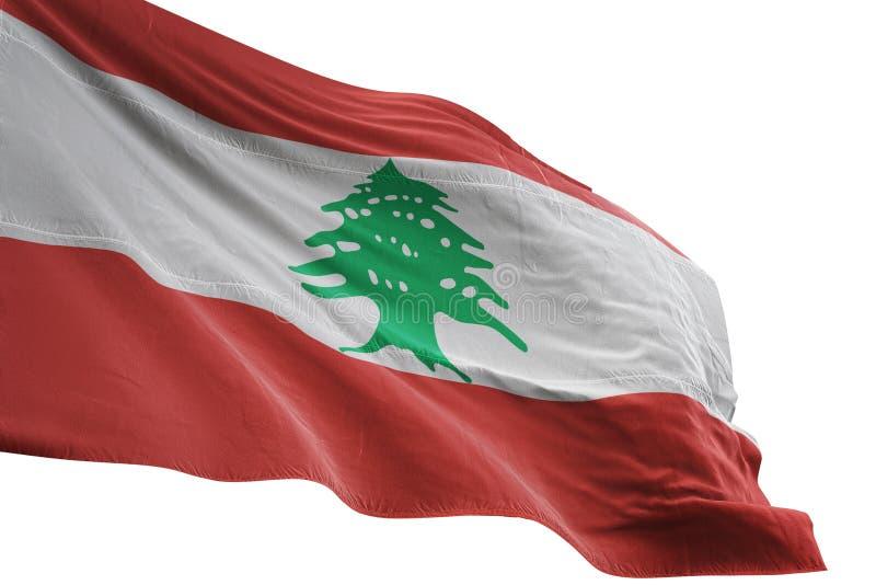 El agitar de la bandera nacional de Líbano aislado en el ejemplo blanco del fondo 3d stock de ilustración