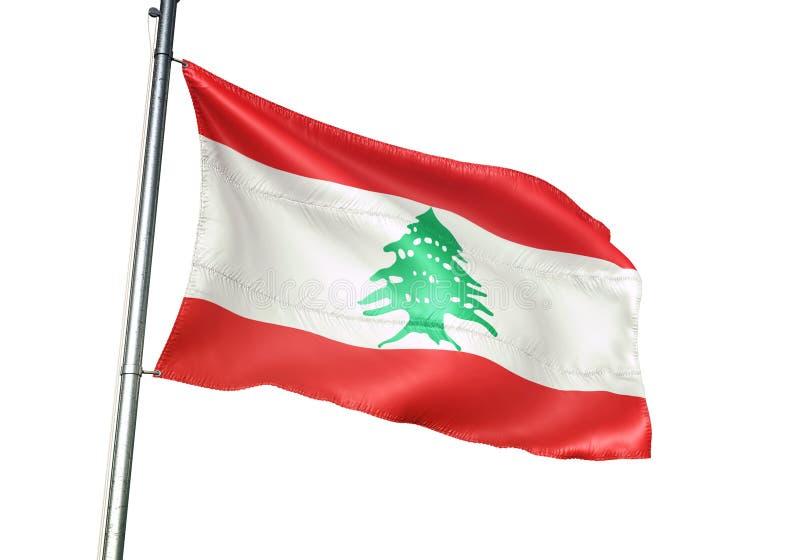 El agitar de la bandera nacional de Líbano aislado en el ejemplo realista 3d del fondo blanco libre illustration
