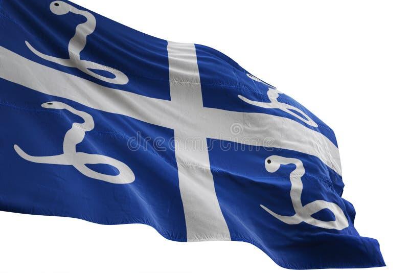 El agitar de la bandera nacional de Martinica aislado en el ejemplo blanco del fondo 3d ilustración del vector
