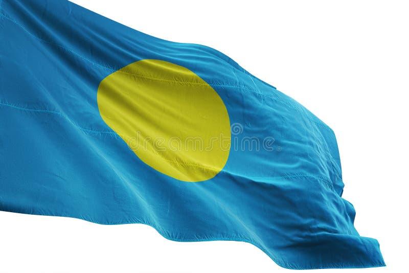 El agitar de la bandera nacional de Palau aislado en el ejemplo blanco del fondo 3d libre illustration