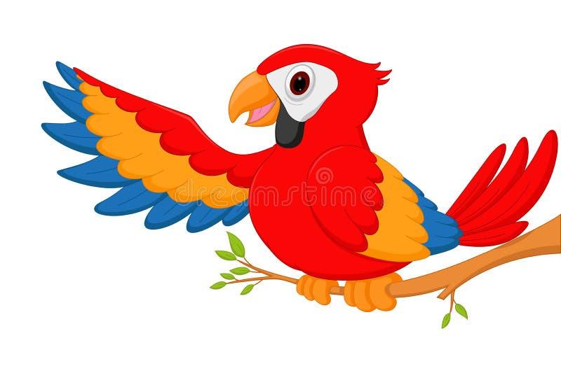 El agitar de la historieta del pájaro del Macaw ilustración del vector