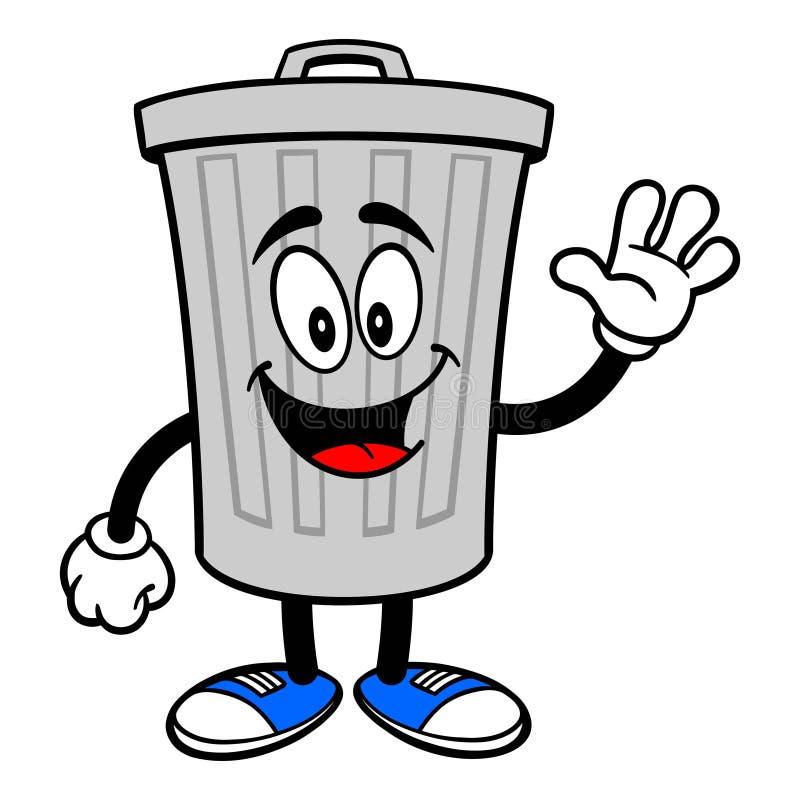 El agitar de la mascota del bote de basura stock de ilustración