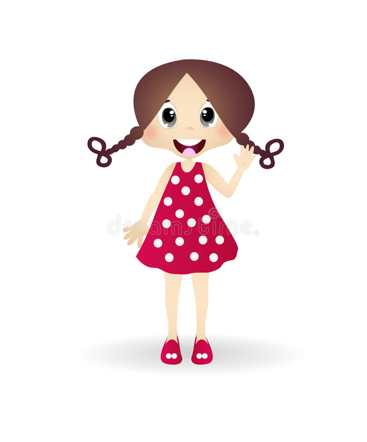 El agitar de la niña stock de ilustración