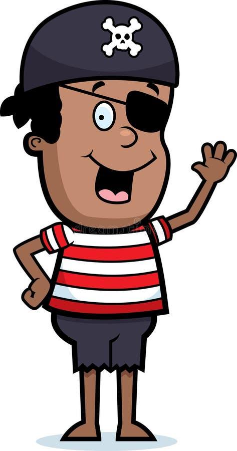 El agitar del muchacho del pirata stock de ilustración