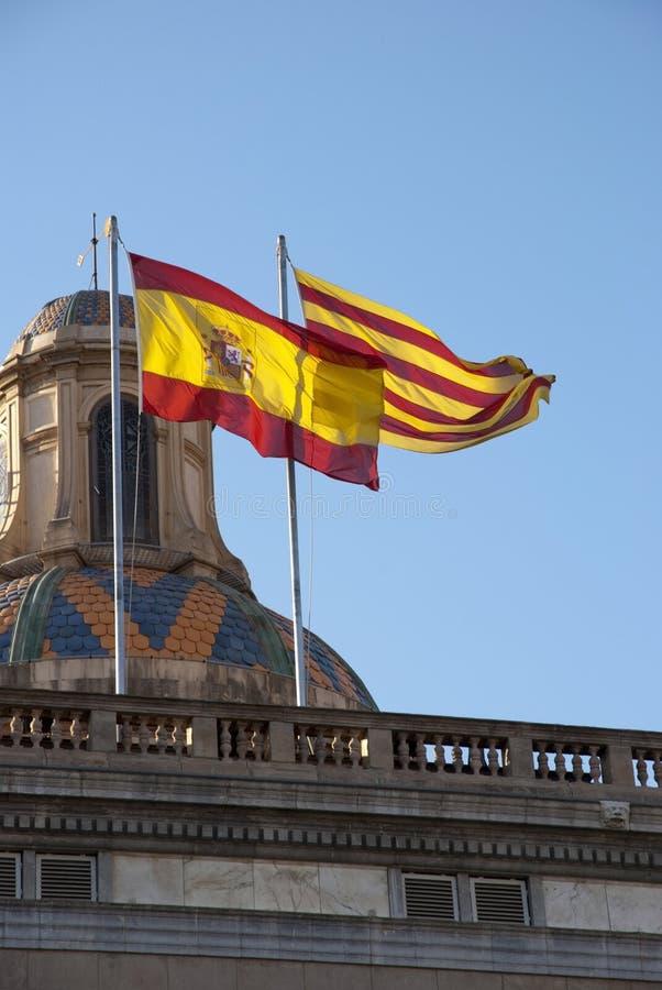 Bandera española y catalana imagen de archivo libre de regalías