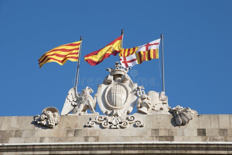 Bandera española y catalana imagenes de archivo