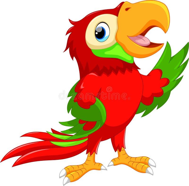 El agitar lindo de la historieta del macaw de la historieta ilustración del vector