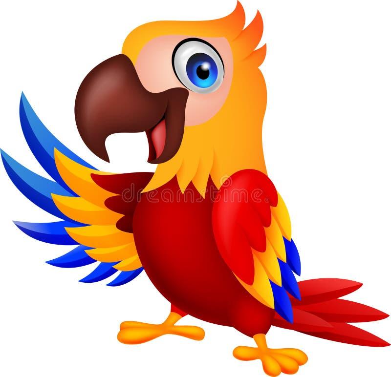 El agitar lindo de la historieta del pájaro del macaw ilustración del vector