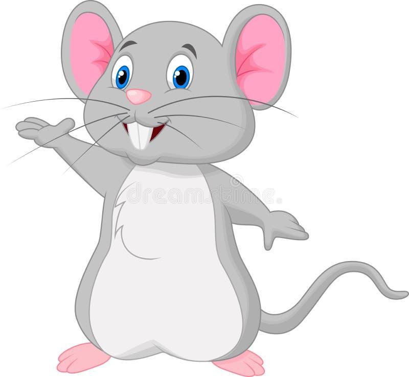 El agitar lindo de la historieta del ratón ilustración del vector