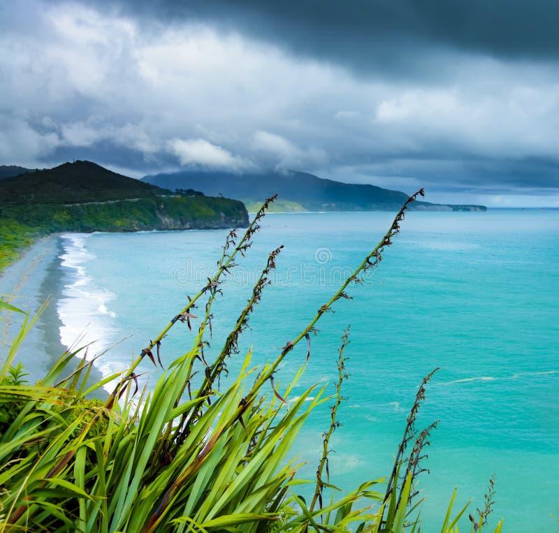 El agua azul de la costa oeste de Nueva Zelanda imagenes de archivo