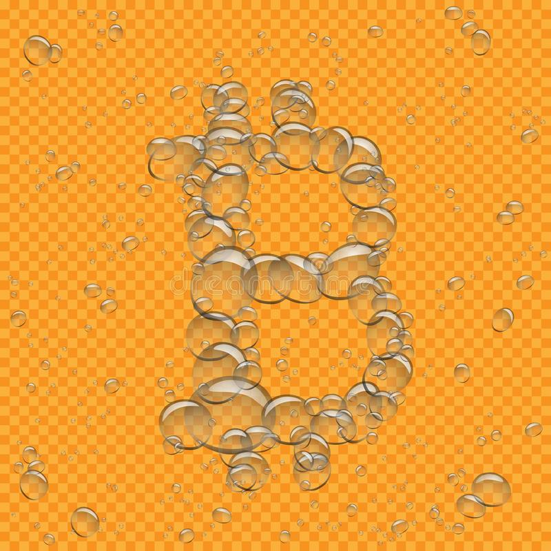 El agua burbujea bitcoin transparente stock de ilustración