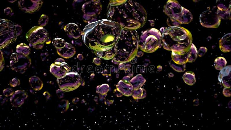 El agua cae burbujas en fondo negro representaci?n 3d imágenes de archivo libres de regalías