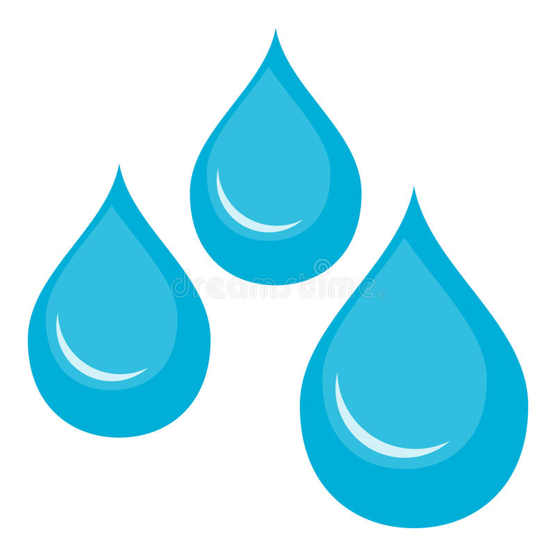 El agua cae el icono plano aislado en blanco ilustración del vector