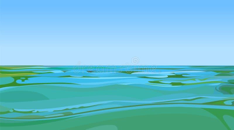 El agua de la turquesa conecta en el horizonte con el cielo ilustración del vector