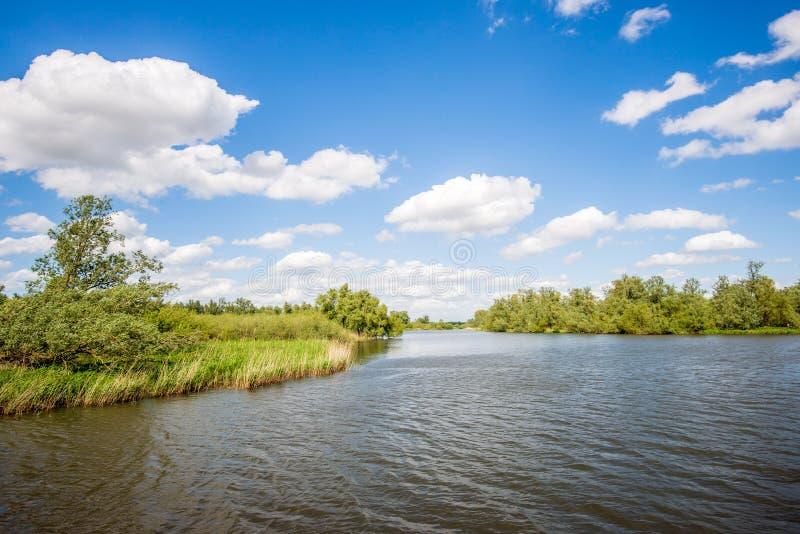 El agua de ondulación emerge en una cala holandesa ancha fotografía de archivo libre de regalías