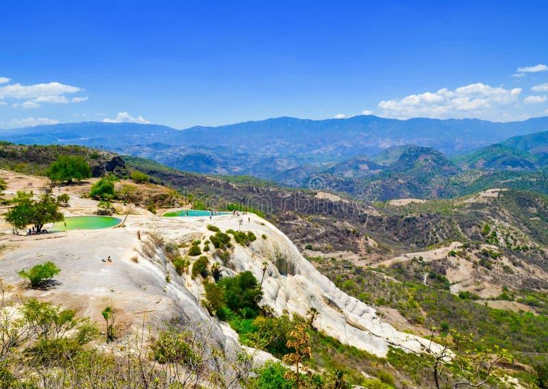 El Agua del EL de Hierve de las cascadas de la piedra caliza, Oaxaca, México 19 de mayo de 2015 foto de archivo