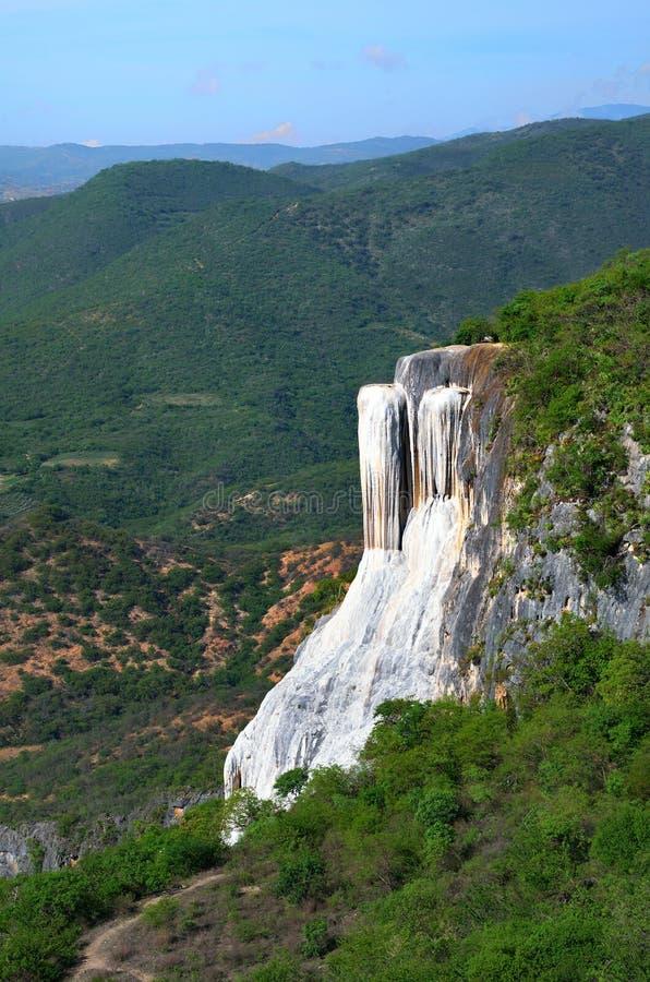 El Agua del EL de Hierve de las primaveras termales en Oaxaca es uno de la mayoría del galán fotos de archivo