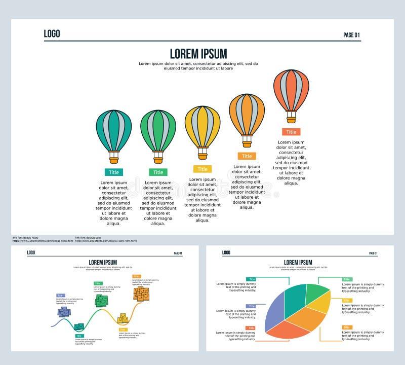 El agua del impulso, timenline, beneficio, hoja, fijó la diapositiva de la presentación y la plantilla de PowerPoint ilustración del vector