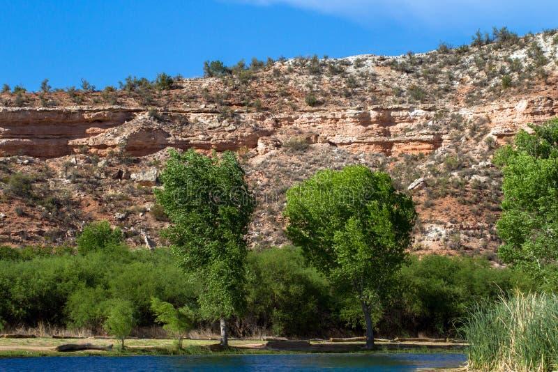 El agua del río de Verde llena la laguna, o el pantano, en el parque de estado del rancho del caballo muerto cerca de Cottonwood, imágenes de archivo libres de regalías