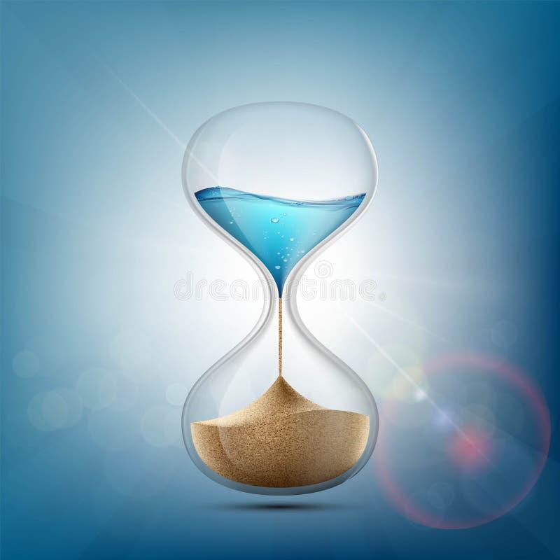 El agua en reloj de arena se convierte en una arena existencias stock de ilustración