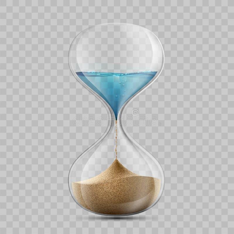 El agua en reloj de arena se convierte en una arena Sandglass aisló en transpa stock de ilustración