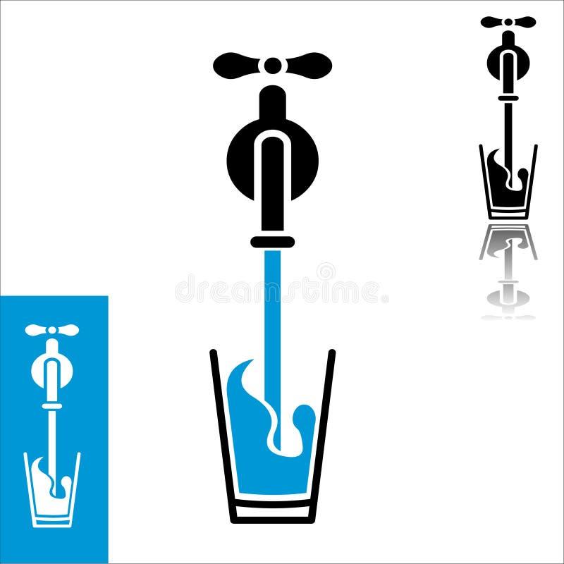 El agua plana del diseño vierte el icono stock de ilustración