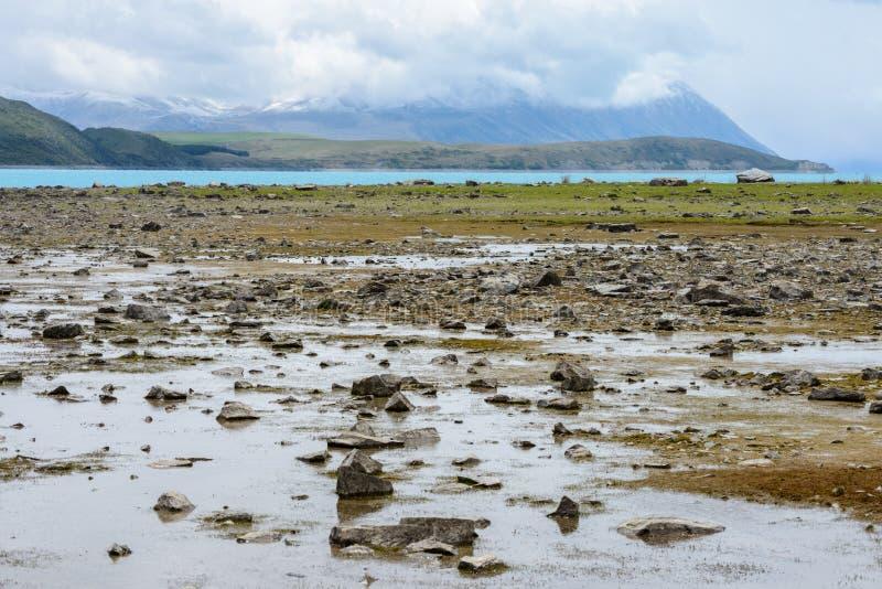 El agua poco profunda en el lago Tekapo revela muchas pequeñas piedras fotos de archivo